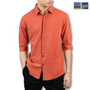 Colegacy X AD Jeans Men Collar Button Mid 3/4 Sleeve Shirt
