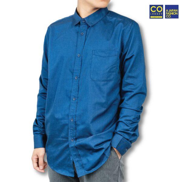 Colegacy Men Cotton Plain Long Sleeve Button Mid Shirt
