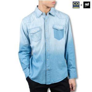 Colegacy X AD Jeans Men Denim Pocket Long Sleeve Shirt