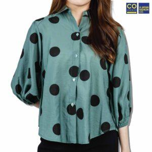 Colegacy Women Dot 3/4 Sleeve Collared Shirt