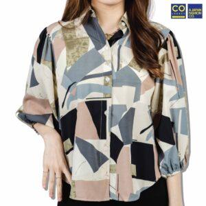 Colegacy Women Colour Block Collared Shirt
