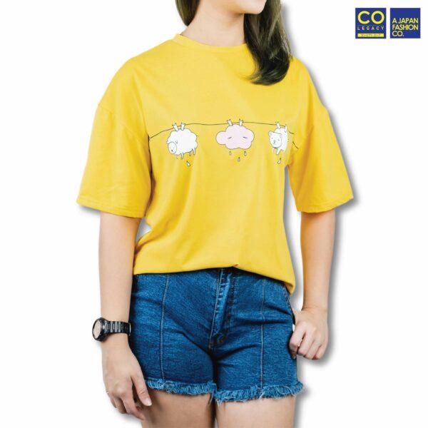 Colegacy Women Plain Colour Cartoon Cloud Design T-Shirt