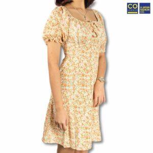 Colegacy Women Short Sleeve Square Neck Floral Dress