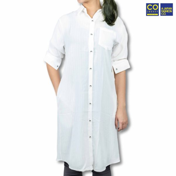 Colegacy Women Plain Button Mid Long Sleeve Collared Shirt
