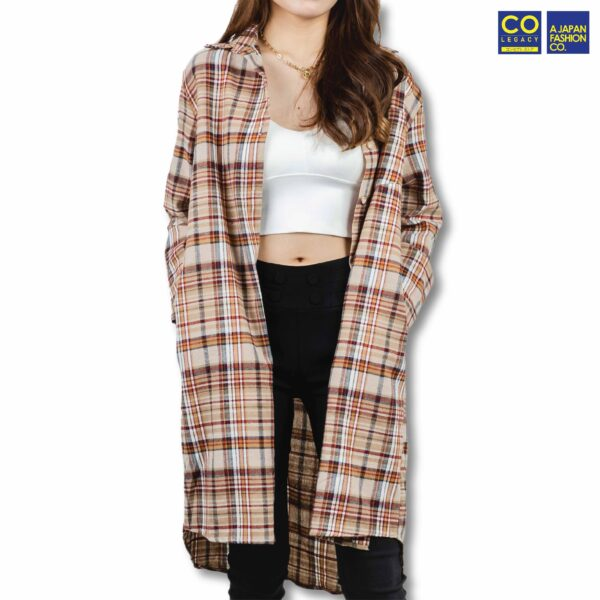Colegacy Women Plaid Button Mid Long Sleeve Collared Shirt