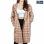 Colegacy Women Plaid Button Mid Long Sleeve Hooded Shirt