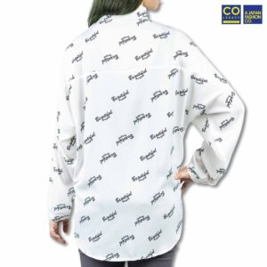 Colegacy Women Word Line Long Sleeve Collared Shirt