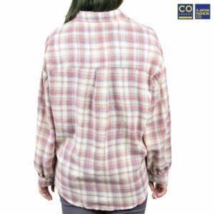 Colegacy Women Plaid Long Sleeve Collared Shirt