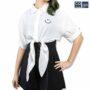 Colegacy Women Plain Collared Smile Face Shirt