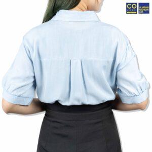 Colegacy Women Plain Collared Smile Face Logo Shirt