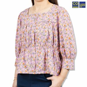 Colegacy Women Floral Square Neck Long Sleeve Blouse