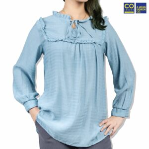 Colegacy Women Long Sleeve Collared Blouse