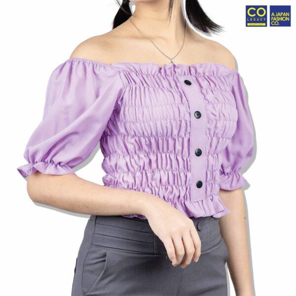Colegacy Women Rubber Mid Short Sleeve Blouse