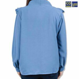 Colegacy Women V-Neck Long Sleeve Blouse