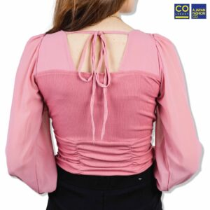 Colegacy Women Square Neck Long Sleeve Blouse