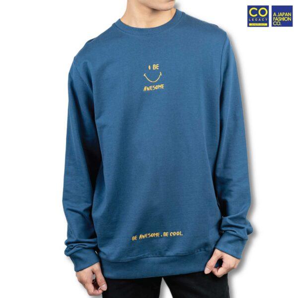 Colegacy Men Cotton Long Sleeve Plain Smile Face Sweater